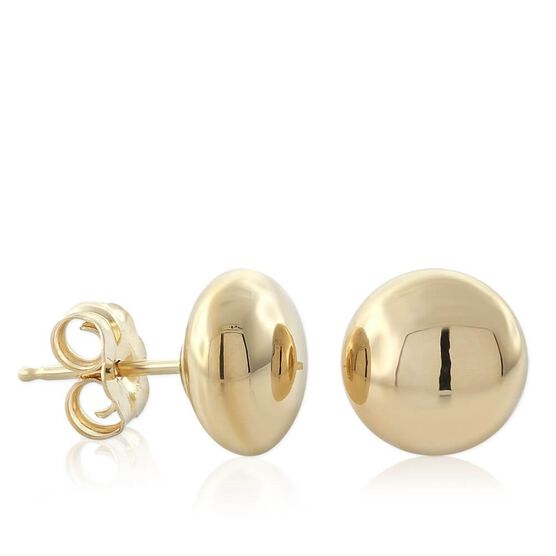 Yellow Gold Button Earrings 14K, 8mm