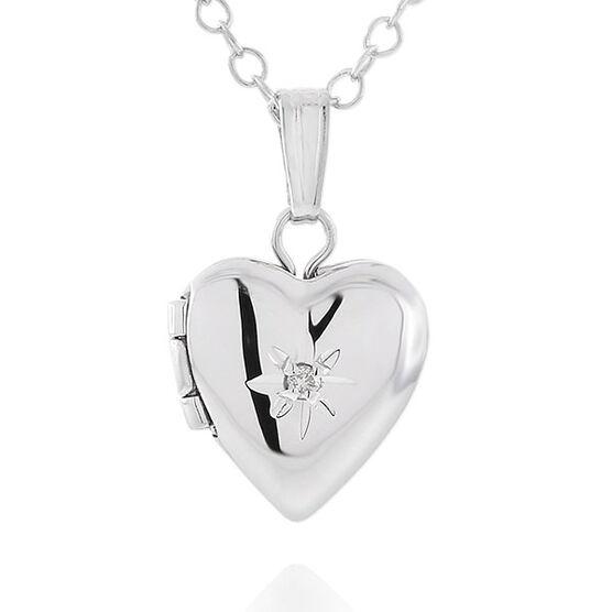 Baby Heart Diamond Locket in Sterling Silver