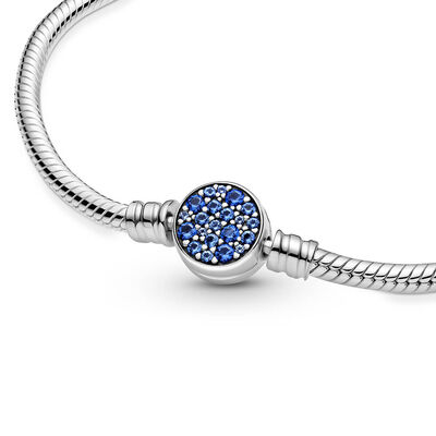 Pandora Moments Sparkling Blue Crystal Disc Clasp Snake Chain Bracelet