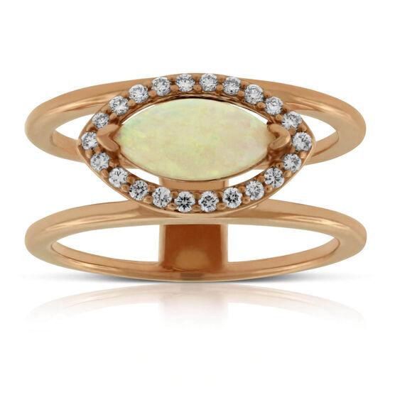 Rose Gold Opal & Diamond Ring 14K