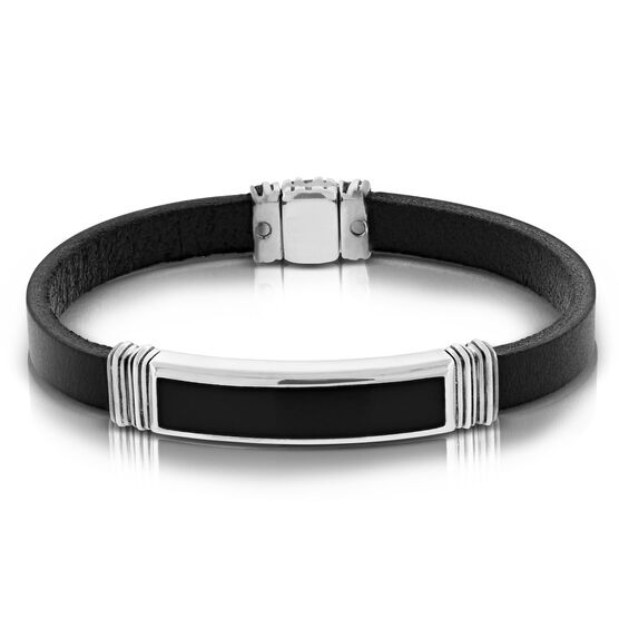 Black Leather & Onyx Bracelet
