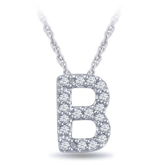 Diamond Initial Pendant 14K Letter 'B'