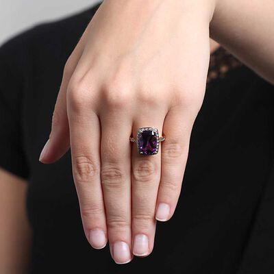 Cushion Cut Amethyst & Brown Diamond Ring 14K