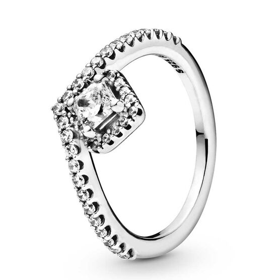Pandora Square Sparkle Wishbone CZ Ring