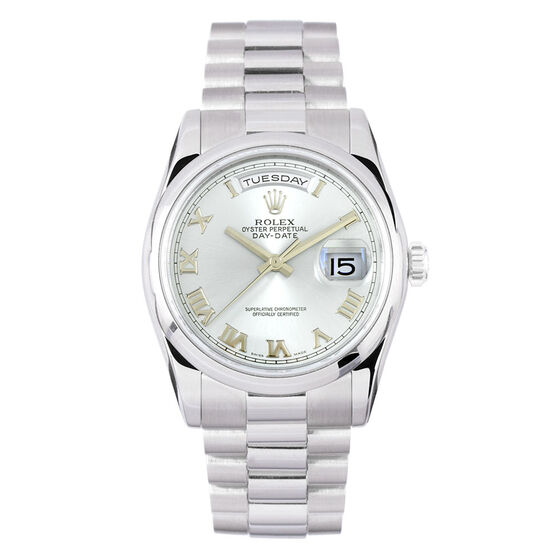 Pre-Owned Rolex Oyster Perpetual Day Date Watch, 36mm, Platinum