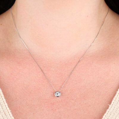 Bezel Diamond Pendant 14K