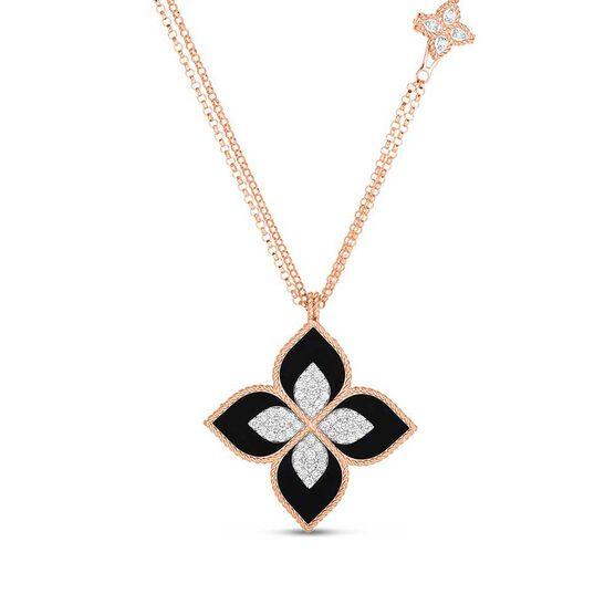 "Roberto Coin Venetian Princess Medium Flower Black Jade & Diamond Necklace 18K, 33"""