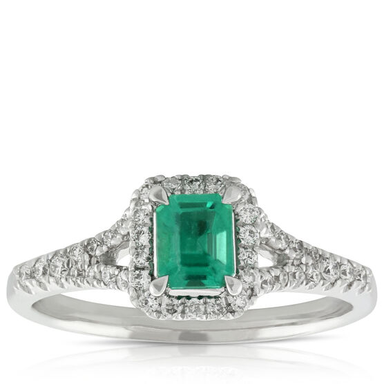 Emerald & Diamond Ring 14K