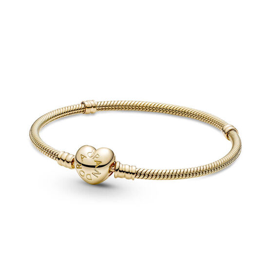 Pandora Moments Heart Clasp Snake Chain Bracelet 14K