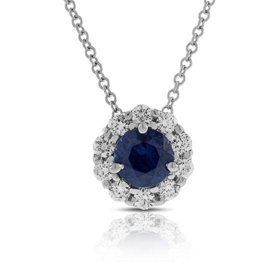 Halo Sapphire & Diamond Pendant 14K