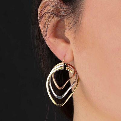 Toscano Tri-Color Hoop Earrings 14K