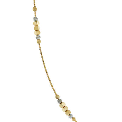 Two-Tone Diamond Cut Beaded Wire Necklace 14K