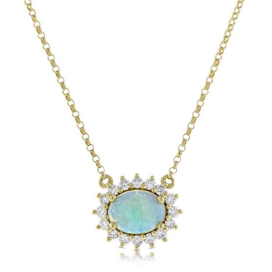 Opal & Diamond Necklace 14K