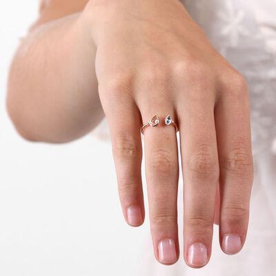 Rose Gold Morganite, Aquamarine & Diamond Open Shank Ring 14K