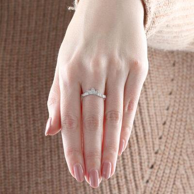 Fancy Crown Contour Diamond Ring 14K