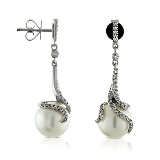 Cultured South Sea Pearl & Diamond Earrings 14K