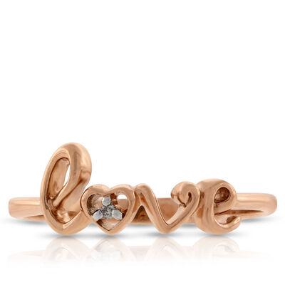 Rose Gold Diamond LOVE Ring 14K