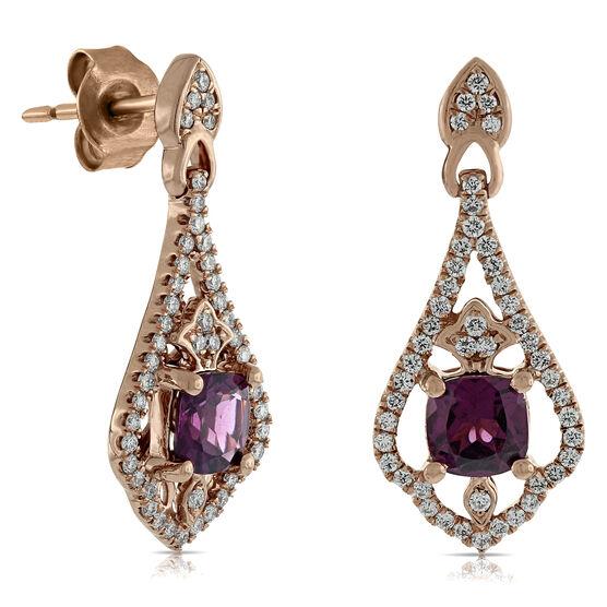 Rose Gold Rhodolite & Diamond Earrings 14K