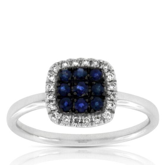 Halo Sapphire & Diamond Square Ring 14K