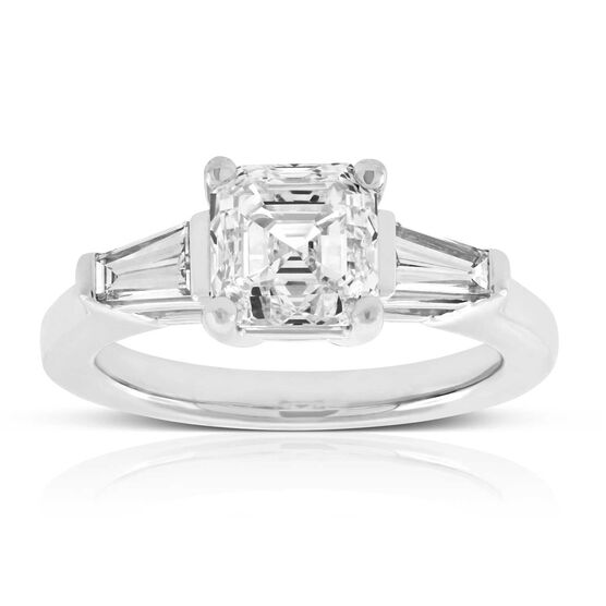 Asscher Cut & Baguette Diamond Ring in Platinum, 2 ct. Center