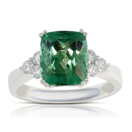 Cushion Green Tourmaline & Diamond Cluster Ring 14K
