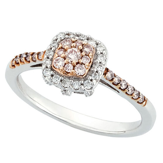 Pink & White Diamond Ring 14K