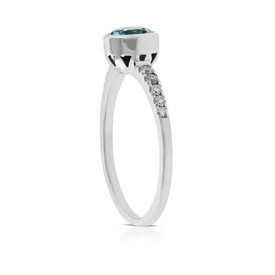 Bezel Set Blue Topaz & Diamond Ring 14K
