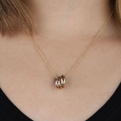 Toscano Tri-Color Rolling Knot Pendant 14K