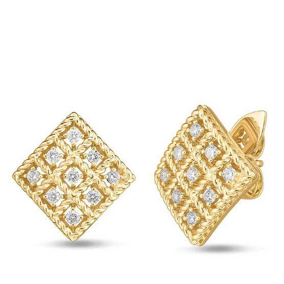 Roberto Coin Byzantine Barocco Diamond Square-Shaped Earrings 18K