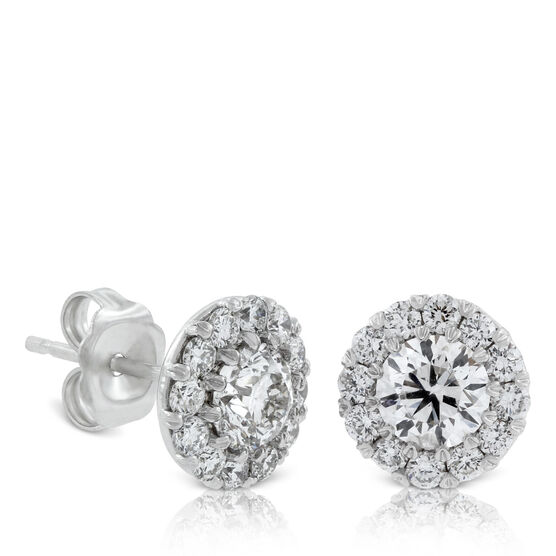 Diamond Halo Cupcake earrings 1 & 1/2ctw, 14K