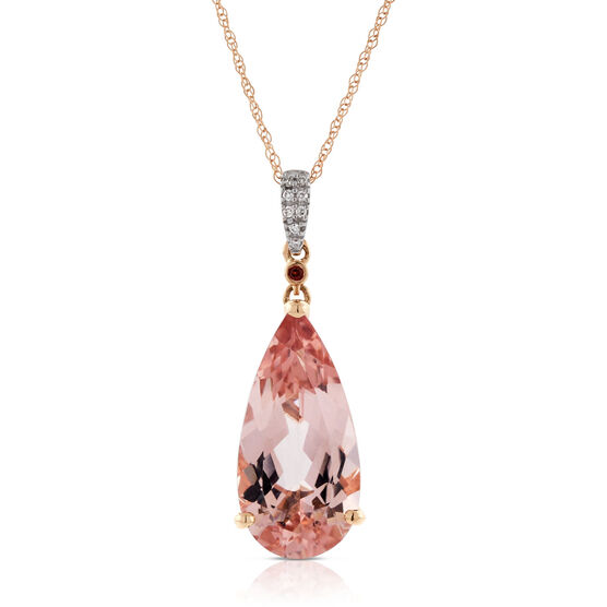 Rose Gold Morganite, Garnet & Diamond Drop Pendant 14K