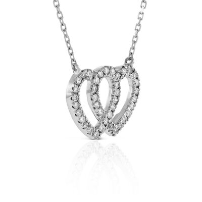 Double Heart Diamond Necklace 14K