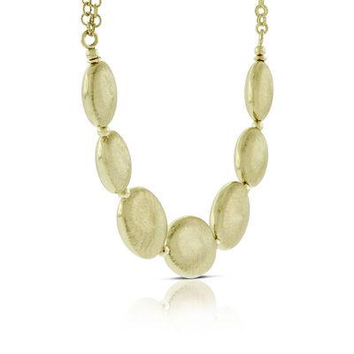 Toscano Graduated Satin Bead Necklace 14K