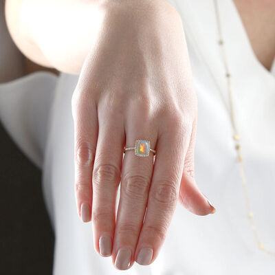 Cushion Cut Opal & Diamond Ring 14K
