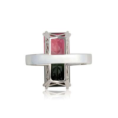 Emerald Cut Bicolor Tourmaline & Diamond Necklace 14K