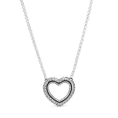 Pandora Pavé CZ Snake Chain Pattern Open Heart Collier Necklace