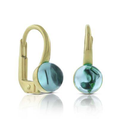 Cabochon Blue Topaz Earrings 14K