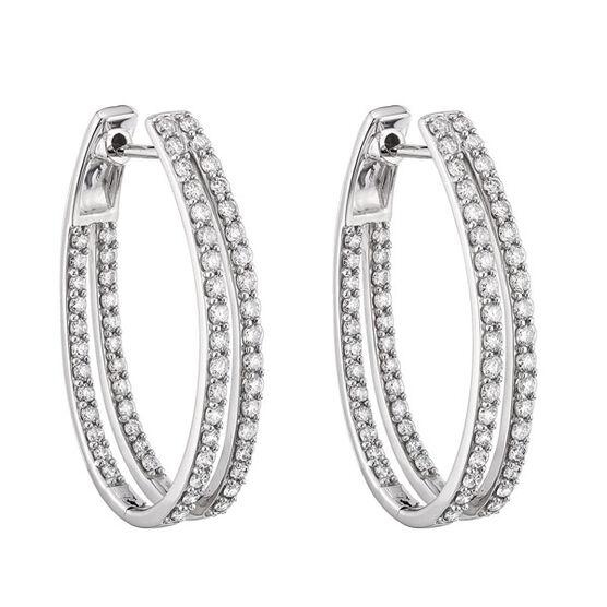 Double Diamond Hoop Earrings 14K