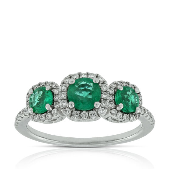 Emerald & Diamond Halo 3-Stone Ring 14K