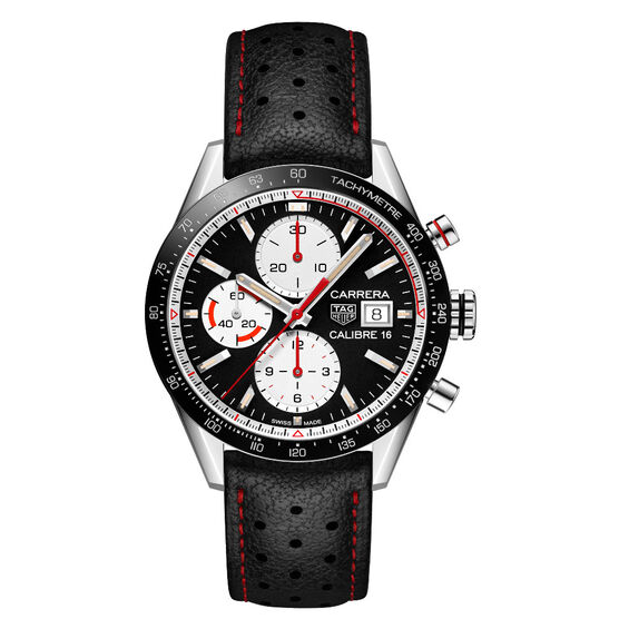 TAG Heuer Carrera Calibre 16 Automatic Mens Black Leather Chronograph Watch