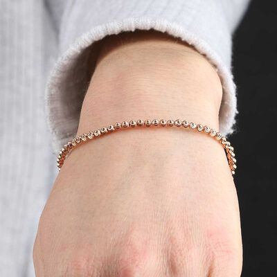 Rose Gold Stretchy Moon Cut Bead Bracelet 14K
