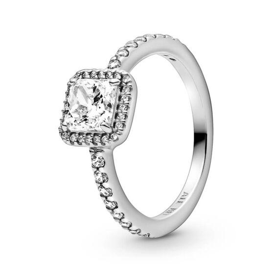 Pandora Square Sparkle Halo CZ Ring