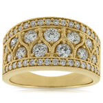 Wide Milgrain Diamond Band 14K