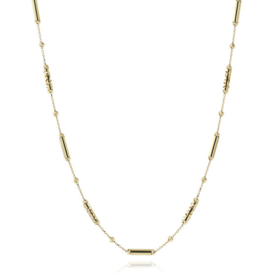 Toscano Diamond-Cut Bead Necklace 18K, 18""