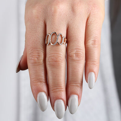 Rose Gold Diamond Open Ovals Ring 14K