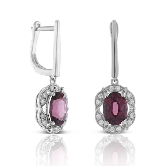 Rhodolite Garnet & Diamond Earrings 14K