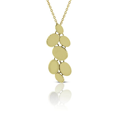 Toscano Mirrored Oval Disc Necklace 14K