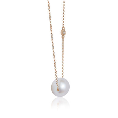 Floating Freshwater Cultured Pearl & Diamond Necklace 14K