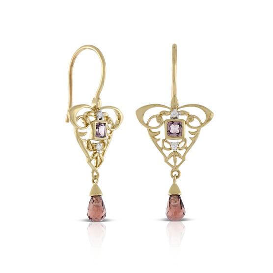 Briolette Cut Garnet & Diamond Drop Earrings 14K