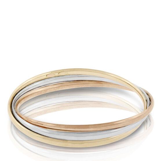 Toscano Tri-Color Twisted Bangle Bracelet 18K